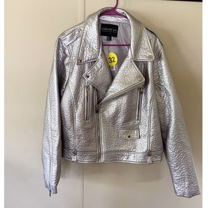 NWT Forever 21 Silver Moto Jacket Size 3X